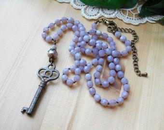 Hand Knotted Opal Amethyst Beadwork ~ Vintage Skeleton Key ~ Crystal Pearl ~ Boho Long Necklace