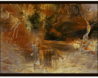 Abstract painting, Titled 'Autumn Night', earthy browns, gold, sienna