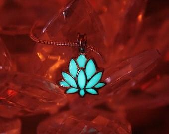 LOTUS Flower Pendant GLOW in the DARK Locket