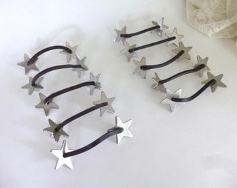 Ten Star and Faux Leather Drawer Handles,  Dresser Handles,  Furniture Hardware