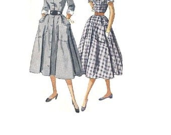 50s Simplicity 3611 Vintage Sewing Pattern Retro Swing Dress Rockabilly Fashion Full Skirt Fitted Bodice Dickey U Neck Large Pockets Bust 32