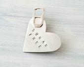 Heart Brooch Hand Stamped  - Sugar Free - Sterling Silver