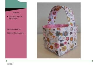 Fabric Basket Tutorial Sewing Pattern, PDF Sewing Pattern