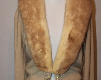 Vintage 50s Bernhard Altmann Cream Cashmere Sweater with Mink Collar - M/L