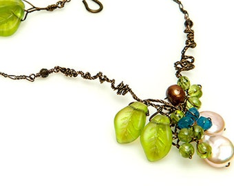 Green Blue Beaded Necklace,  Peridot and Apatite Gemstone Necklace, Nature Jewelry