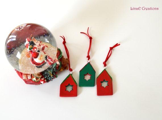 Set of three miniature clay houses, christmas tree ornaments, holidays decoration