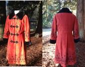 Chic 1960's - 1970's Orange Heavy Cotton Suede Coat with Faux Black Fur