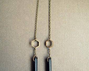 Black Spike Earrings - Black and Gold Earrings - Tribal Spike Earrings - Tribal Dangle Earrings - Long Drop Earrings - Brass Chain Earrings