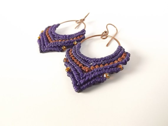 macrame hoops macrame earrings hoop earrings purple and brown earrings on 4099