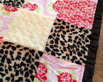 Retro Leopard and Lace Baby Blanket