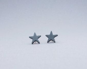 Modern star post earrings black, anthracite stud earrings, modern jewelry, elegant star earrings, porcelain stars, modern ceramic earrings