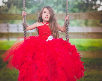 Red Feather Flower Girl Birthday Tutu Dress