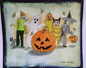 Halloween trick or treaters walking original drawing in India ink on acrylic painted archival paper.