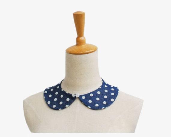 HALF PRICE Denim Blue Polka Dot Detachable Peter Pan Collar CZ08-12