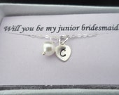 Child Size - SALE - Personalized Initial Charm and Pearl Bracelet - Junior Bridesmaid and Flower Girl Gift, Wedding Jewelry Gift