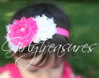 White and Hot Pink Shabby Flower Headband. Baby Headband. Girl Headband. Newborn Headband. Infant Headband. Photo Prop.