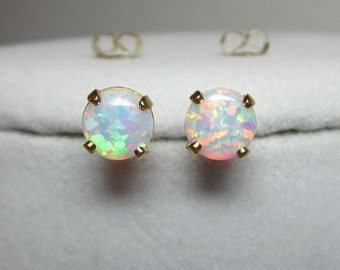 Opal Earrings, Opal Studs, White Opals, Opal Stud Post, Stud Earrings, Opal Jewelry