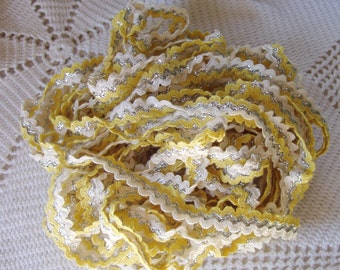 Vintage 50s Rick Rack Yellow White Silver 1950s Sewing Trim over 15 yards Vintage Notions