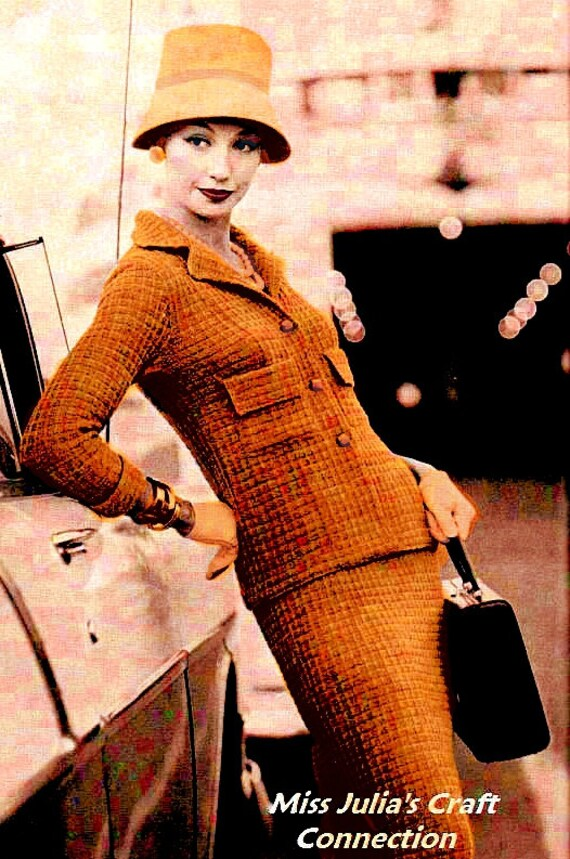Vintage 1950s Vogue Elegant Checked Shaped Suit 171 PDF Digital Knit Pattern