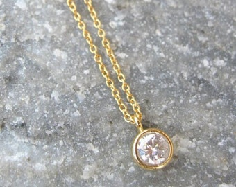Gold Solitaire Necklace, Tiny Diamond Necklace, Gold Jewelry, Bridesmaids Jewelry Gold Dainty Necklace Gold Necklace Bridesmaids Necklace