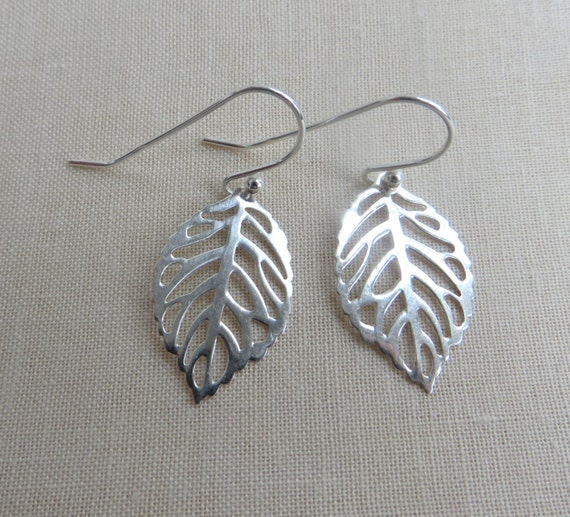 sterling silver filigree leaf earrings by