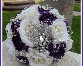 PURPLE BROOCH BOUQUET, Deposit for a Custom Purple and ivory Jeweled Wedding Bouquet, Custom, purple Bouquet, brooch Bouquet, Full Price