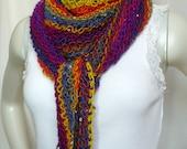 Rainbow Shawl with Sequins, Hand Knit Shawl, Gypsy Shawl, Boho Shawl, Triangle Scarf, Sequined Scarf, Lacy Knit Wrap, Ready to Ship