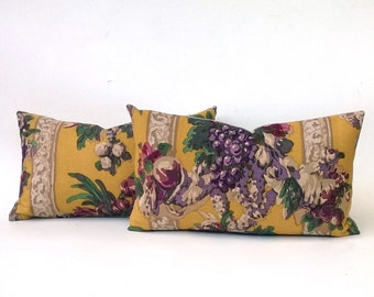 SET OF TWO Pillows Mustard Gold With Purples, Pinks, Greens Floral & Grape Design, 14 x 24 One-Of-A-Kind Pair