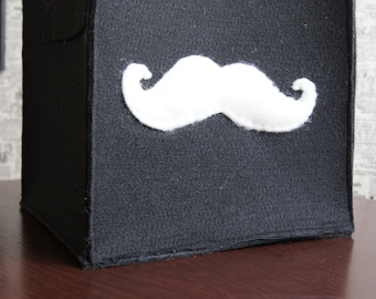 Felt box - moustache bin - Accessory Storage