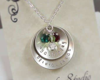 Sterling Silver Layered Disc Necklace with Swarovski Birthstones - Grandmother necklace - Personalized Custom Jewelry - Mothers necklace