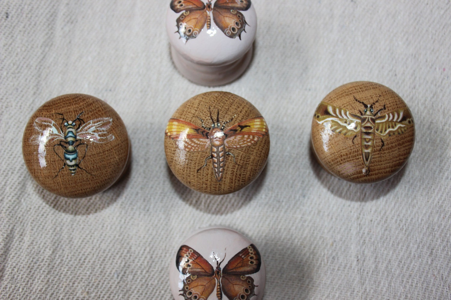 Painted Knobs Natural Wood Dresser Knobs Butterfly Hand
