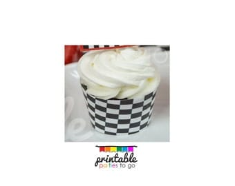 INSTANT DOWNLOAD CHECKERED Flag Cupcake Wraps - Please Read Description Thoroughly - Printable Parties to Go