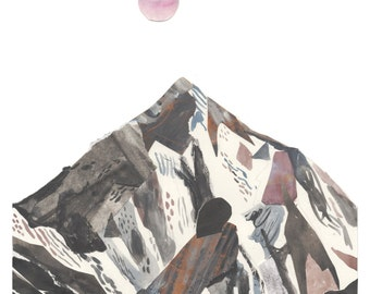 K2 mountain art illustration, A3 Print (11.69 in x 16.54 in )