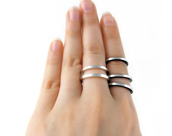 Silver ring band, simple ring, flat silver wedding band - Shadow rings