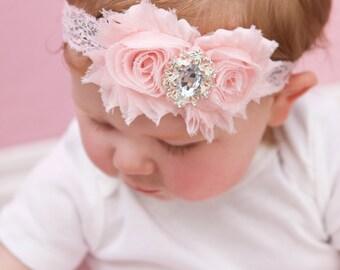 U CHOOSE COLOR Pink Shabby chic Headband Shabby Baby headband rhinestone newborn
