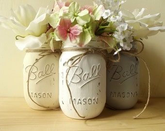 Rustic Home Decorations // Rustic Country Home Decor // Decorative Mason Jars // Cottage Chic Decor // Cute Home Decor // Distressed Decor