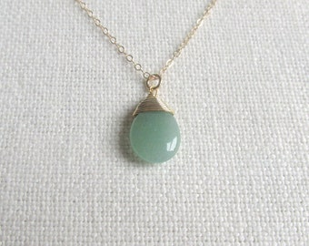 Green Aventurine Necklace, Gold Wire Wrapped Gemstone, 14k Gold Fill Chain, Pale Green, Matte Dainty