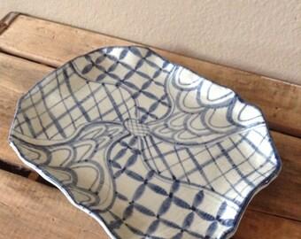 Asian Blue Vintage Platter Made in Japan - Blue Serving Platter - Asian Serving Platter - Vintage Serving Platter