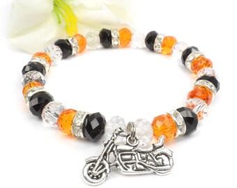 Orange Black Motorcycle Charm Bracelet, Harley Davidson Inspired Jewelry B1