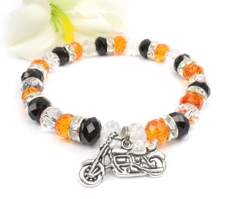 Orange Black Motorcycle Charm Bracelet Harley Davidson