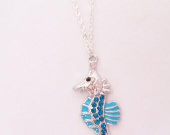 Seahorse pendant necklace - metal seahorse jewelry - blue metal pendant - silver chain necklace - seahorse jewelry - seahorse necklace