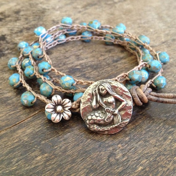 Mermaid & Silver Flower Multi Wrap Crochet Leather Bracelet