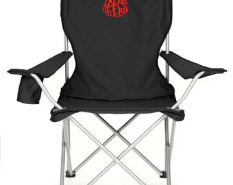 Monogrammed Folding Chair - Camping Tailgating Ballgame - Personalized Gift - Red, Black and Royal blue