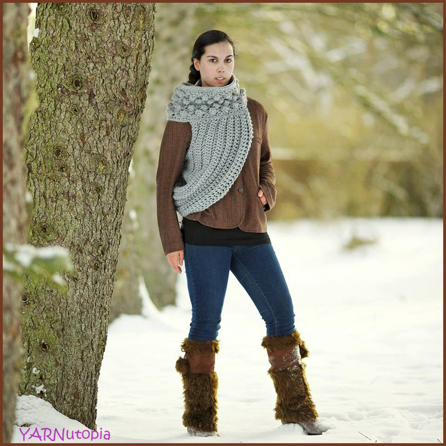 handmade crocheted katniss cowl hunting costume sweater 128270zoom
