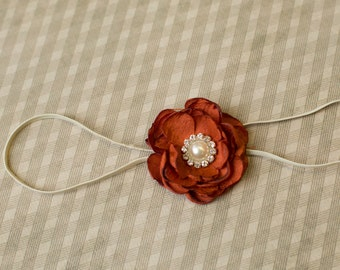 The Rustic - Rust Flower Headband - Gorgeous Fall Flower Headband - Burnt Orange Flower Headpiece