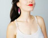Lace Earrings Neon Pink Earrings Triangle Earrings Gold Earrings Tribal Earrings Modern Earrings Minimal Earrings / DEDERA