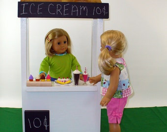 "American Girl Doll Furniture / Ice Cream Stand / 18"" Doll Furniture (White)"