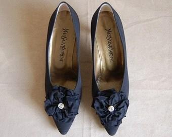 Yves Saint Laurent YSL heels / black flowers and rhinestones heels / size 8.5