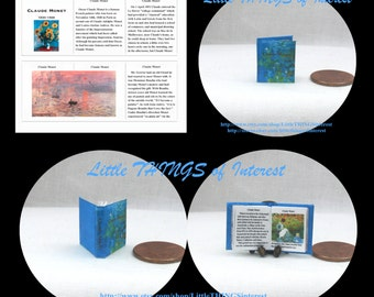 CLAUDE MONET Miniature BOOK Dollhouse 1:12 Scale Readable Illustrated Book