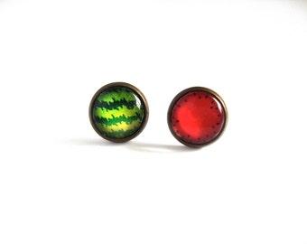 12mm Watermelon Earrings, Watermelon Studs, Watermelon Post Earrings, Fruit Post Earrings, Fruit Earrings, Watermelon Jewelry, Fruit Jewelry